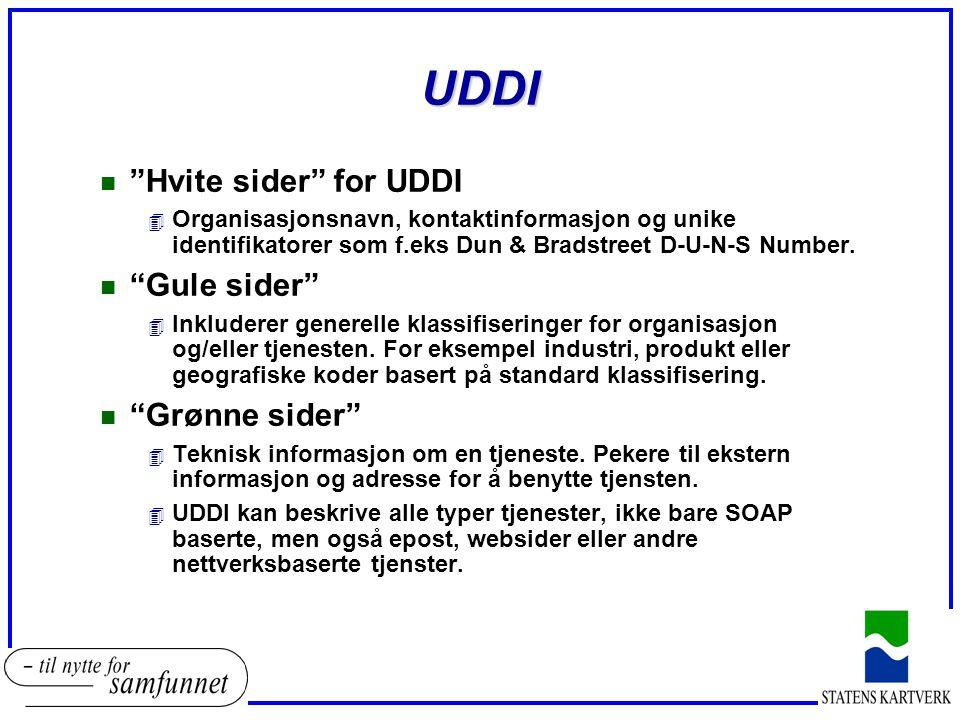 UDDI n Hvite sider for UDDI 4 Organisasjonsnavn, kontaktinformasjon og unike identifikatorer som f.eks Dun & Bradstreet D-U-N-S Number.
