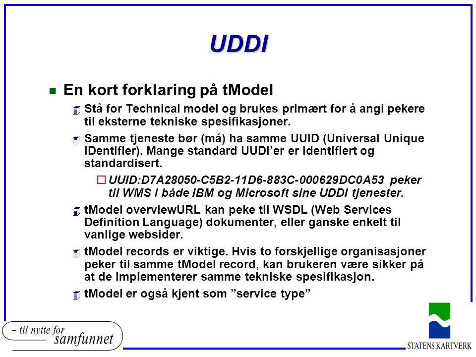 UDDI n En kort forklaring på tModel 4 Stå for Technical model og brukes primært for å angi pekere til eksterne tekniske spesifikasjoner.