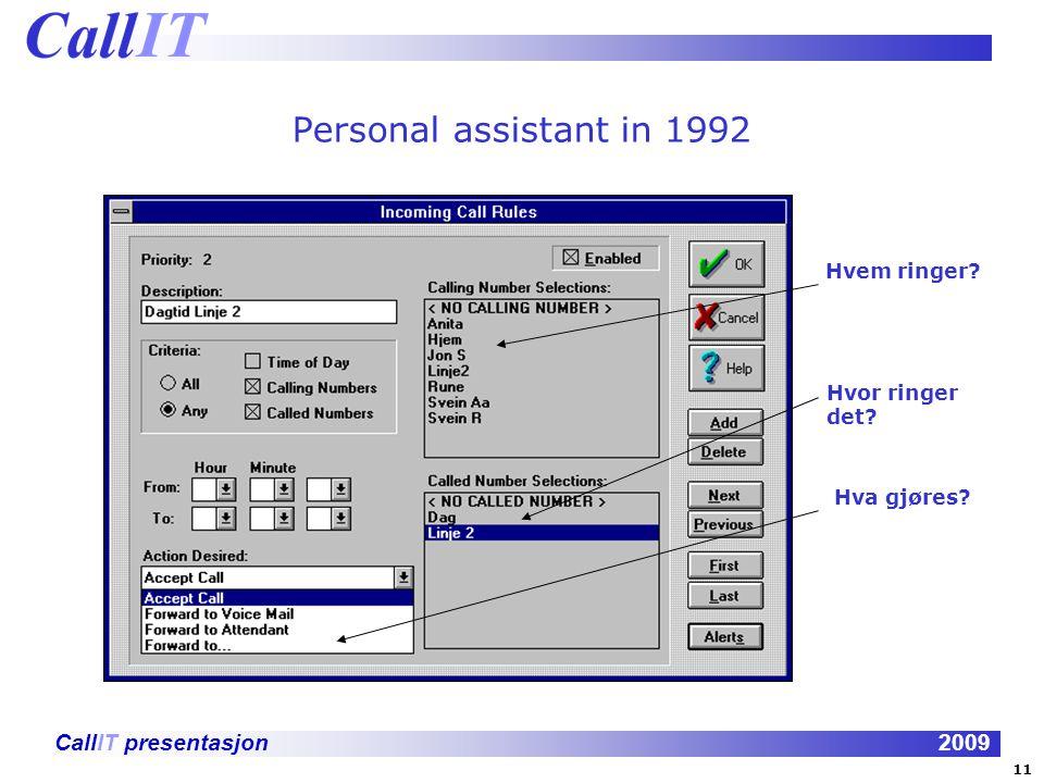 CallIT presentasjon2009 Personal assistant in 1992 Hvem ringer? Hvor ringer det? Hva gjøres? 11