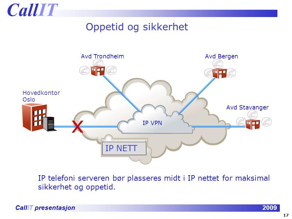 CallIT presentasjon2009 Oppetid og sikkerhet Hovedkontor Oslo Avd TrondheimAvd BergenAvd Stavanger IP VPN x IP telefoni serveren bør plasseres midt i IP nettet for maksimal sikkerhet og oppetid.