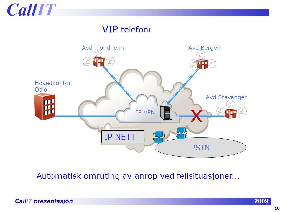 CallIT presentasjon2009 VIP telefoni IP VPN Hovedkontor Oslo Avd TrondheimAvd Bergen Avd Stavanger x Automatisk omruting av anrop ved feilsituasjoner...