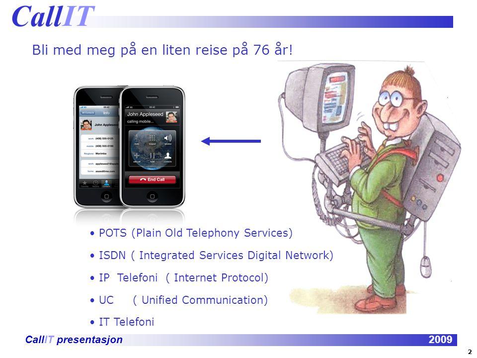 CallIT presentasjon2009 De viktigste elementene i Unified Communication er: IP-telefoni Tale-post Kunde kontakt senter Telefonkonferanse Videokonferanse E-mail Hurtigmeldinger Web konferanse Applikasjonsdeling Mobilitet Tilgjengelighet / presence 23