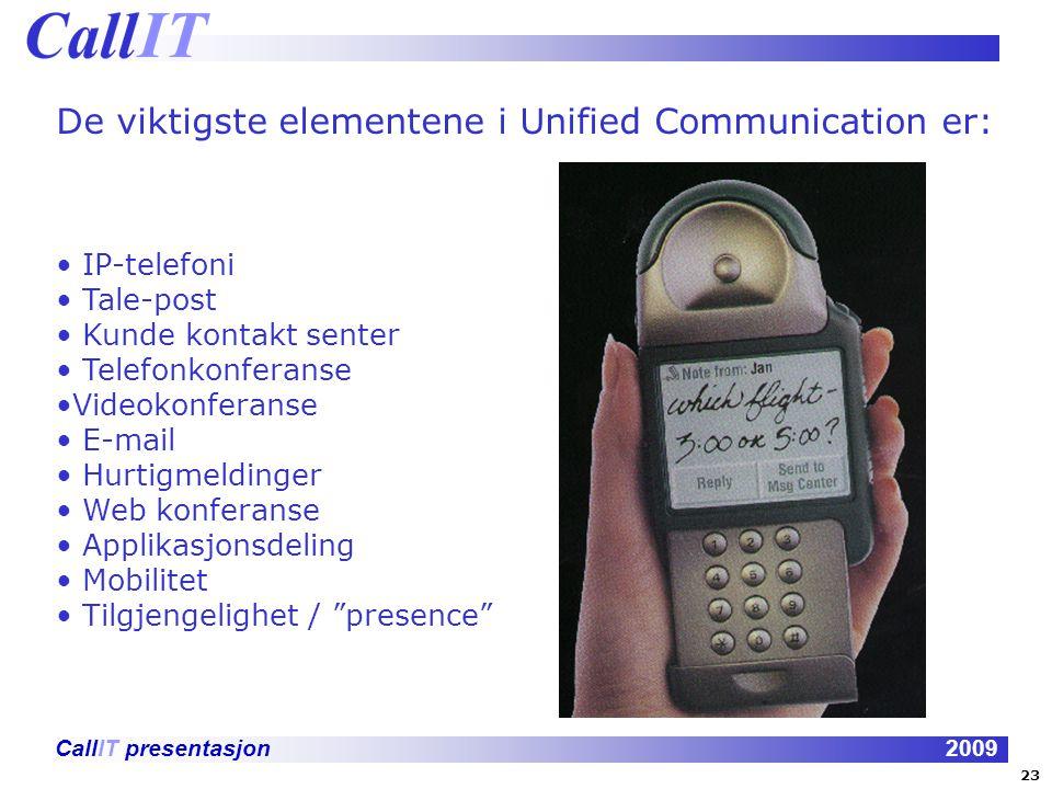 CallIT presentasjon2009 De viktigste elementene i Unified Communication er: IP-telefoni Tale-post Kunde kontakt senter Telefonkonferanse Videokonferan
