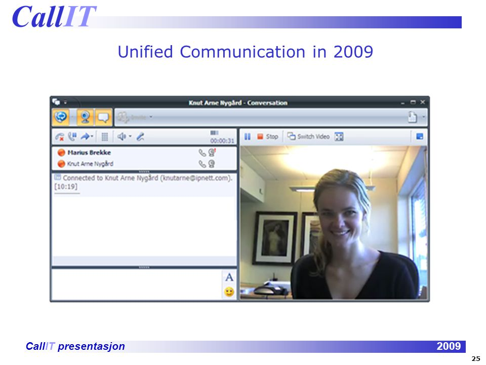CallIT presentasjon2009 Unified Communication in 2009 25