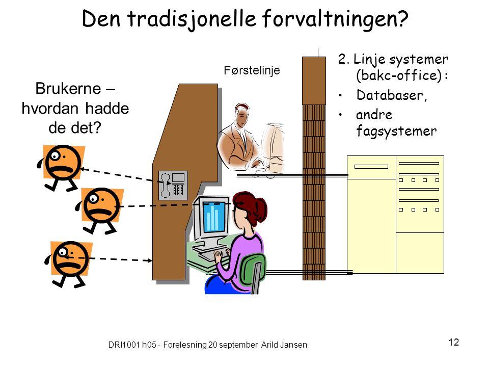 DRI1001 h05 - Forelesning 20 september Arild Jansen 12 Den tradisjonelle forvaltningen.
