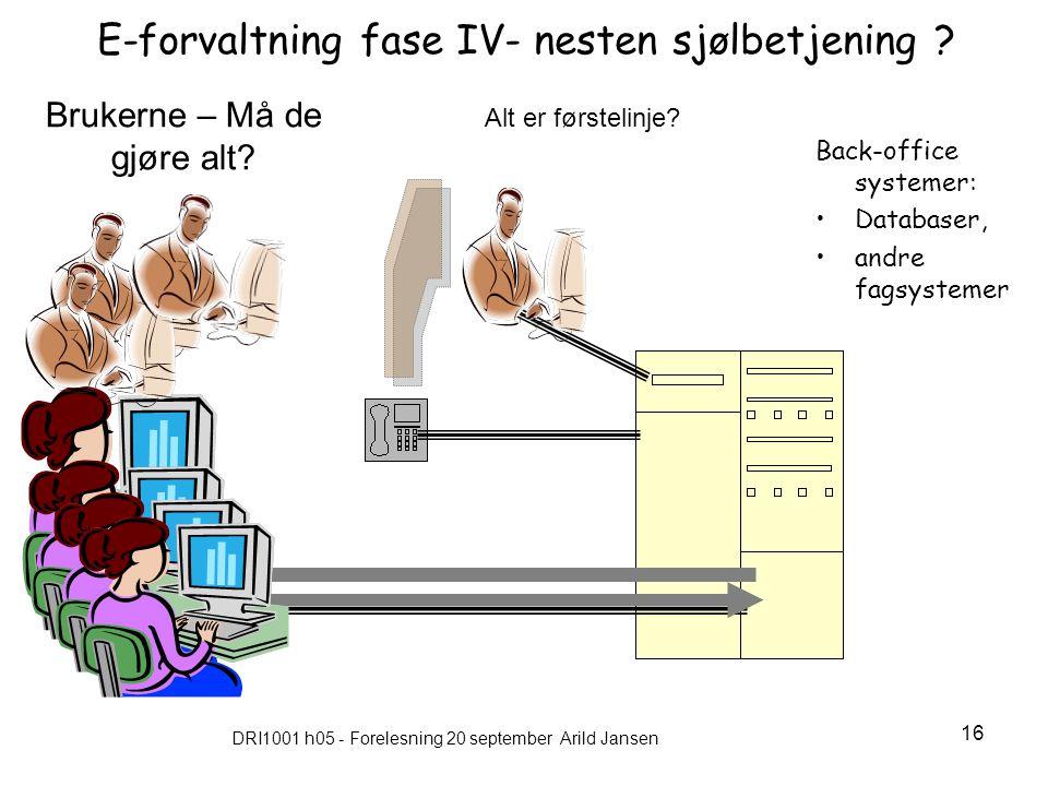DRI1001 h05 - Forelesning 20 september Arild Jansen 16 E-forvaltning fase IV- nesten sjølbetjening .