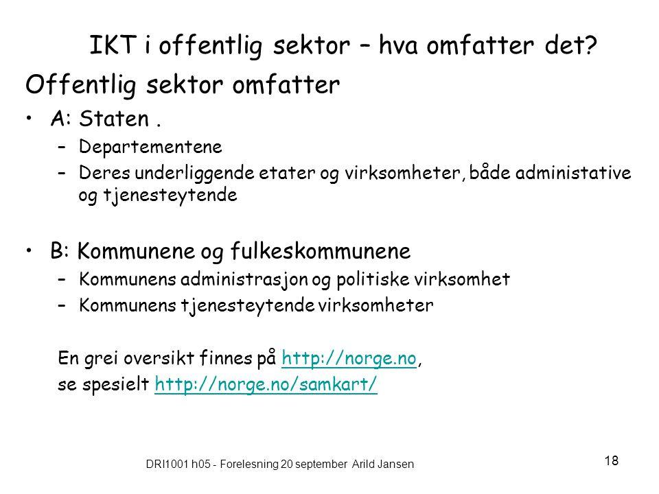 DRI1001 h05 - Forelesning 20 september Arild Jansen 18 IKT i offentlig sektor – hva omfatter det.