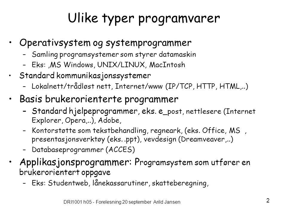 DRI1001 h05 - Forelesning 20 september Arild Jansen 13 Da Internett/WWW kom.