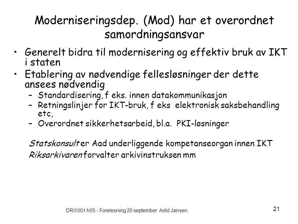 DRI1001 h05 - Forelesning 20 september Arild Jansen 21 Moderniseringsdep.