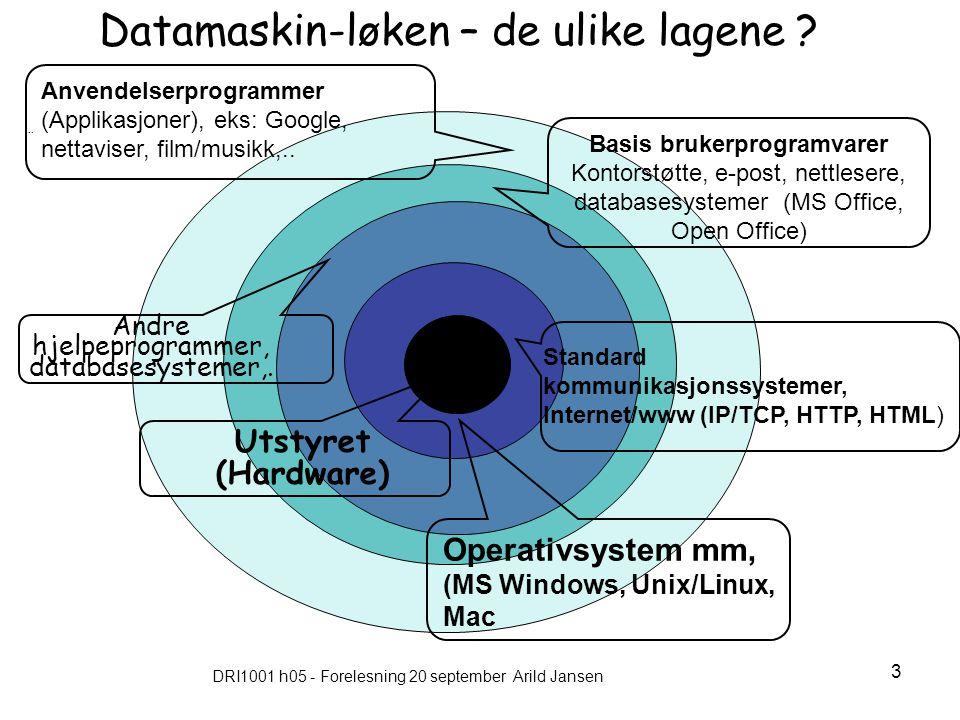 DRI1001 h05 - Forelesning 20 september Arild Jansen 3..