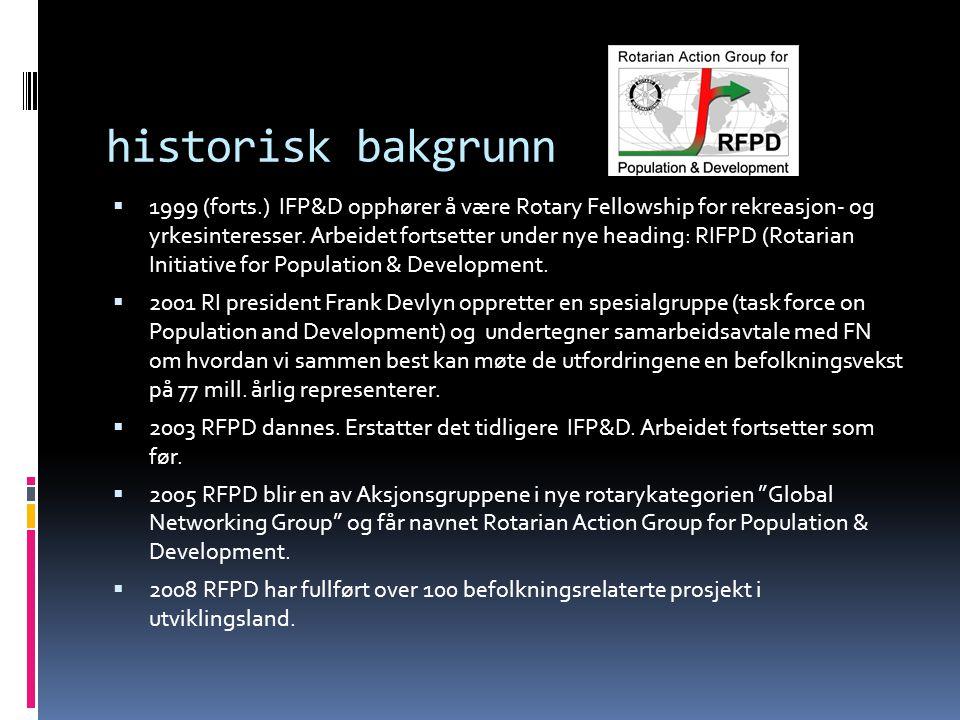 historisk bakgrunn  1999 (forts.) IFP&D opphører å være Rotary Fellowship for rekreasjon- og yrkesinteresser. Arbeidet fortsetter under nye heading: