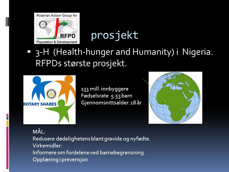prosjekt  3-H (Health-hunger and Humanity) i Nigeria. RFPDs største prosjekt. 133 mill. innbyggere Fødselsrate 5.53 barn Gjennomsnittsalder. 18 år MÅ