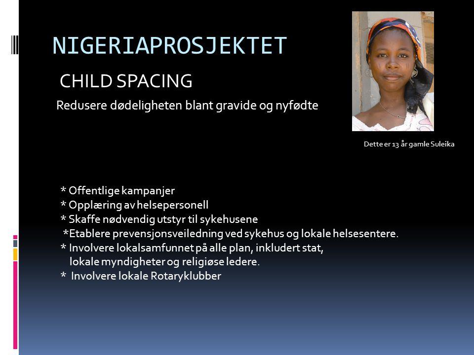 NIGERIAPROSJEKTET CHILD SPACING Redusere dødeligheten blant gravide og nyfødte Dette er 13 år gamle Suleika * Offentlige kampanjer * Opplæring av helsepersonell * Skaffe nødvendig utstyr til sykehusene *Etablere prevensjonsveiledning ved sykehus og lokale helsesentere.
