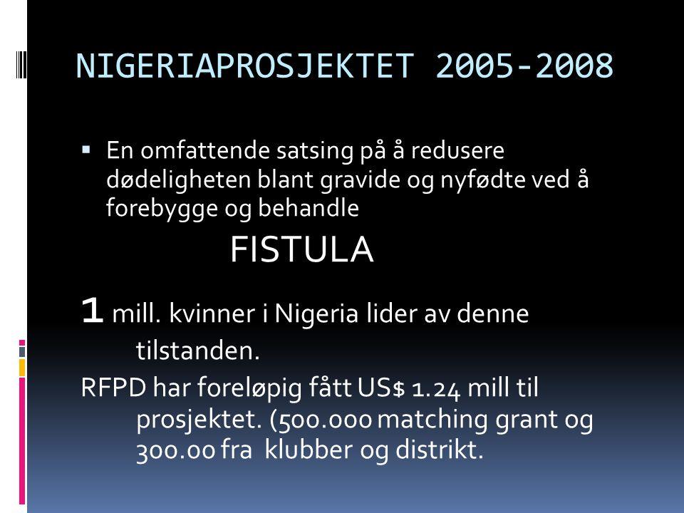 NIGERIAPROSJEKTET 2005-2008  En omfattende satsing på å redusere dødeligheten blant gravide og nyfødte ved å forebygge og behandle FISTULA 1 mill.