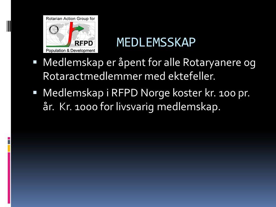 MEDLEMSSKAP  Medlemskap er åpent for alle Rotaryanere og Rotaractmedlemmer med ektefeller.  Medlemskap i RFPD Norge koster kr. 100 pr. år. Kr. 1000