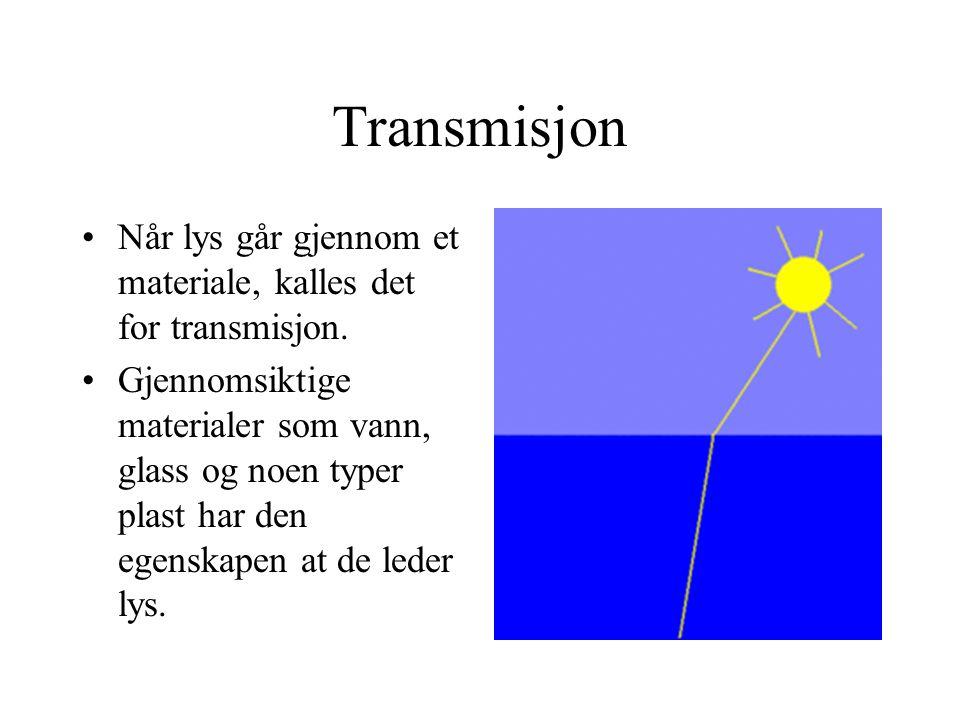 Transmisjon Når lys går gjennom et materiale, kalles det for transmisjon. Gjennomsiktige materialer som vann, glass og noen typer plast har den egensk