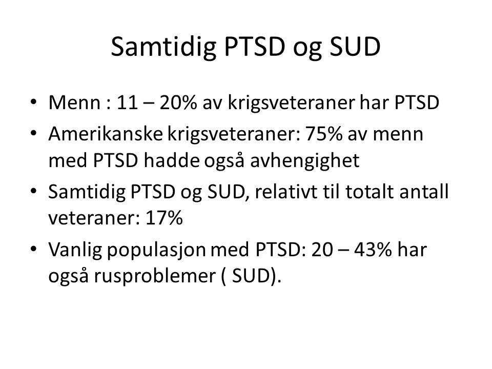 Samtidig PTSD og SUD Menn : 11 – 20% av krigsveteraner har PTSD Amerikanske krigsveteraner: 75% av menn med PTSD hadde også avhengighet Samtidig PTSD