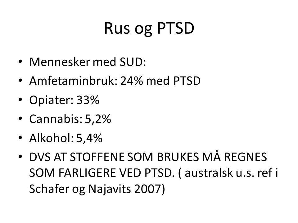 Rus og PTSD Mennesker med SUD: Amfetaminbruk: 24% med PTSD Opiater: 33% Cannabis: 5,2% Alkohol: 5,4% DVS AT STOFFENE SOM BRUKES MÅ REGNES SOM FARLIGER