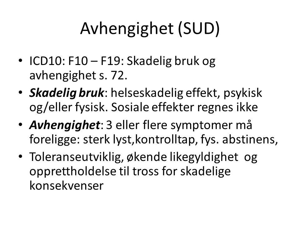 Avhengighet (SUD) ICD10: F10 – F19: Skadelig bruk og avhengighet s. 72. Skadelig bruk: helseskadelig effekt, psykisk og/eller fysisk. Sosiale effekter