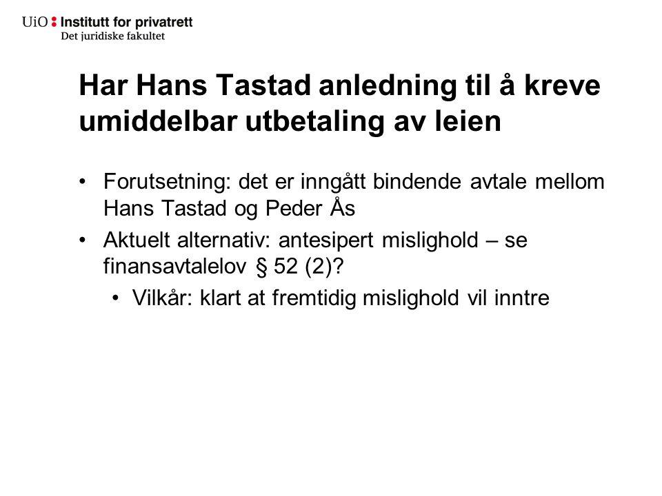 Tvisten mellom Lars Holm og Peder Ås Lars Holm: 1.Nekter å betale leie i reparasjonsperioden 2.Erstatning Leie av reservemaskin Dagmulkten Peder Ås 1.Bestrider samtlige krav 2.Er ikke å bebreide