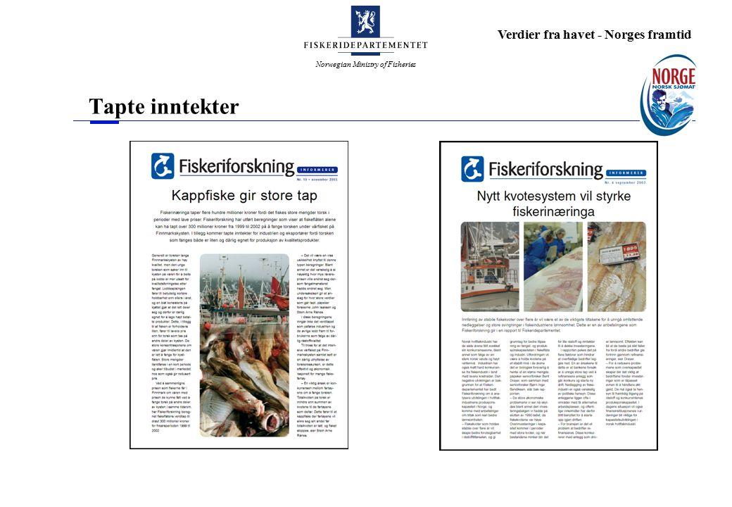 Norwegian Ministry of Fisheries Verdier fra havet - Norges framtid Tapte inntekter