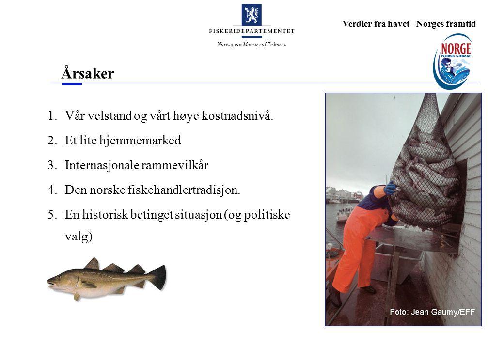 Norwegian Ministry of Fisheries Verdier fra havet - Norges framtid Eventuell flytting av kvoteåret Flytting av kvoteåret har fra enkelte hold vært lansert som et virkemiddel for å øke lønnsomheten Norges Råfisklags prosjekt om flytting av kvoteåret En omlegging av kvoteåret krever samarbeid fra våre forhandlingspartnere, særlig Russland, og EU Tidspunkt for kvoteråd fra ICES Regionale konsekvenser?