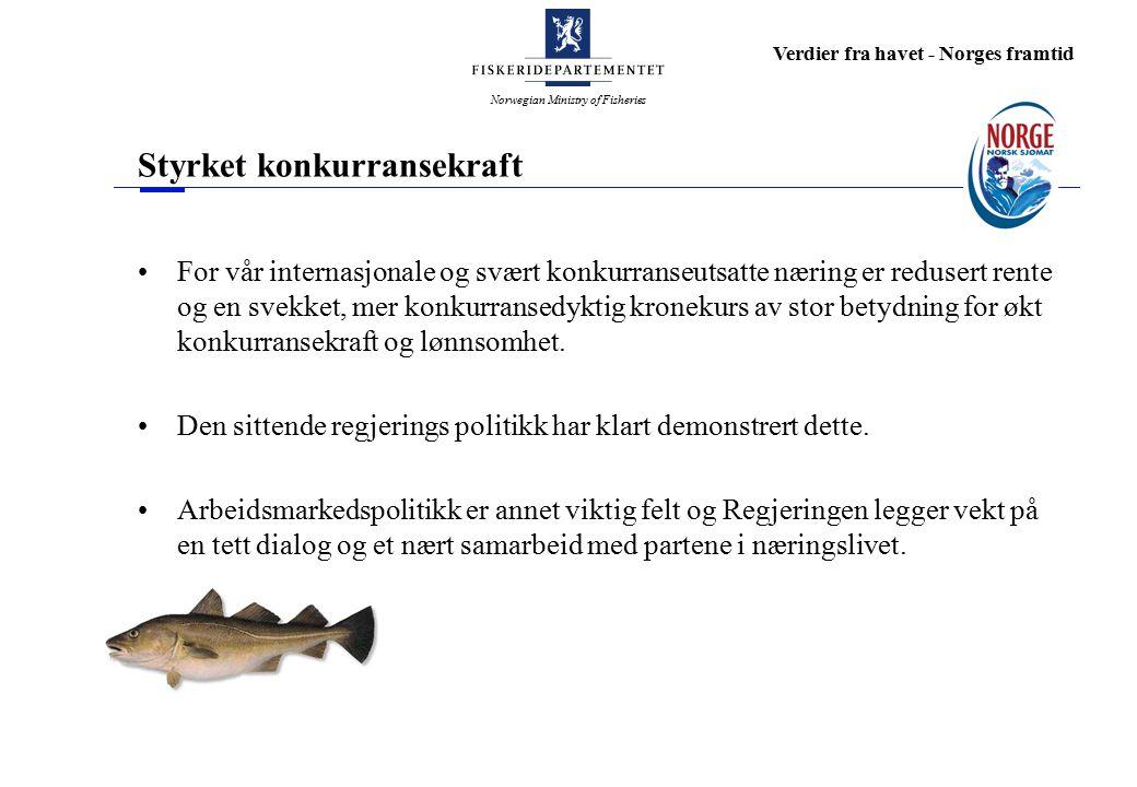 Norwegian Ministry of Fisheries Verdier fra havet - Norges framtid Styrket konkurransekraft For vår internasjonale og svært konkurranseutsatte næring er redusert rente og en svekket, mer konkurransedyktig kronekurs av stor betydning for økt konkurransekraft og lønnsomhet.