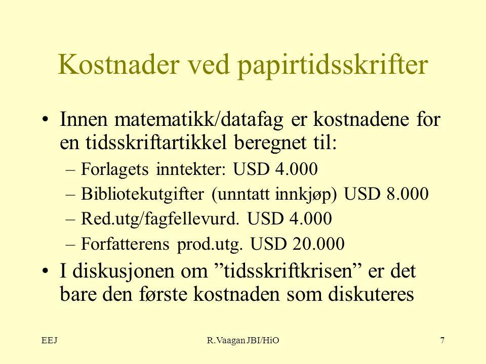 EEJR.Vaagan JBI/HiO7 Kostnader ved papirtidsskrifter Innen matematikk/datafag er kostnadene for en tidsskriftartikkel beregnet til: –Forlagets inntekter: USD 4.000 –Bibliotekutgifter (unntatt innkjøp) USD 8.000 –Red.utg/fagfellevurd.