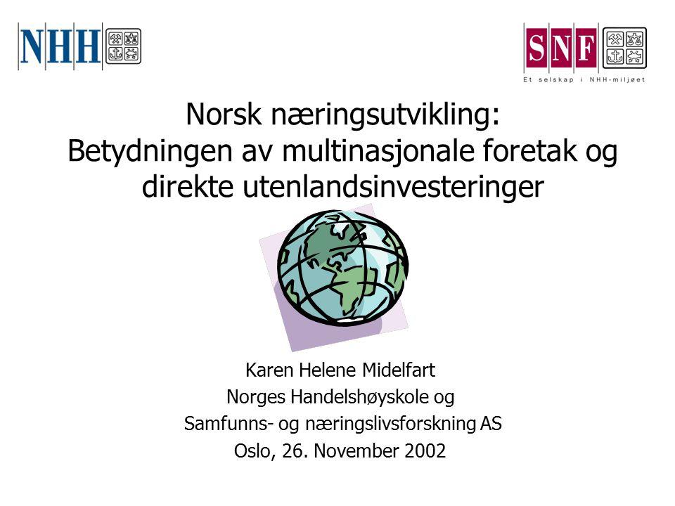 Norske multinasjonale foretaks ekspansjon i utlandet skjer langs flere akser… Omsetning i utlandet, % Sysselsetting i utlandet, % FoU i utlandet, % FoU intensitet Ukjent59.336.7- 0 - 0.9%78.343.08.3 1.0 - 2.9%81.872.220.1 3% -77.853.643.9 Gjennomsnitt76.355.230.3 Kilde: SNF, MNF Database (1996)