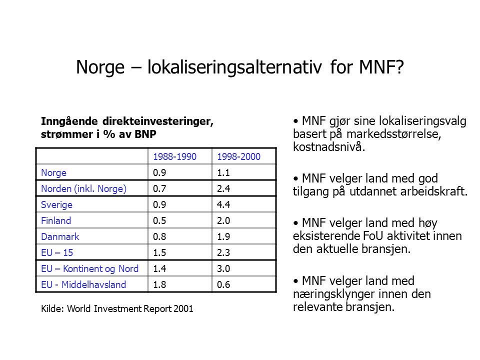 Norske konserns multinasjonale virksomhet, I 198019902000 Salg i utlandet, % av omsetning 536478 Sysselsetting i utlandet, % av sysselsetting 93459 De 30 største norske konsern står for ¼ av sysselsettingen i industrien; en enda høyere andel av norsk eksport; hovedtyngden av FoU i næringslivet; har multinasjonal virksomhet karakterisert ved: Kilde: SNF