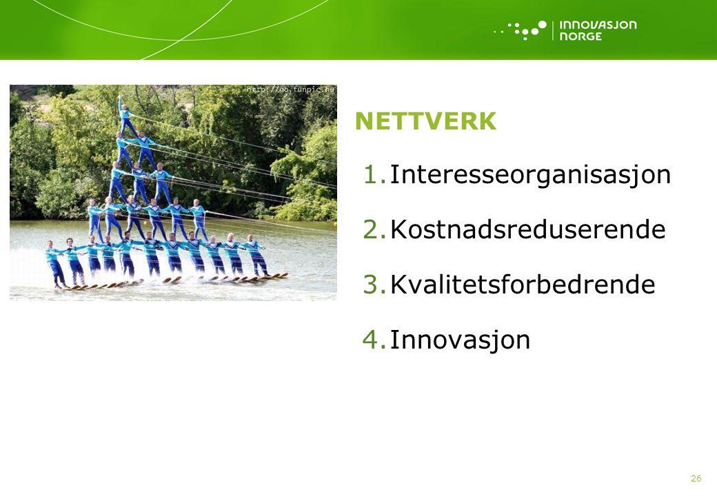 26 NETTVERK 1.Interesseorganisasjon 2.Kostnadsreduserende 3.Kvalitetsforbedrende 4.Innovasjon