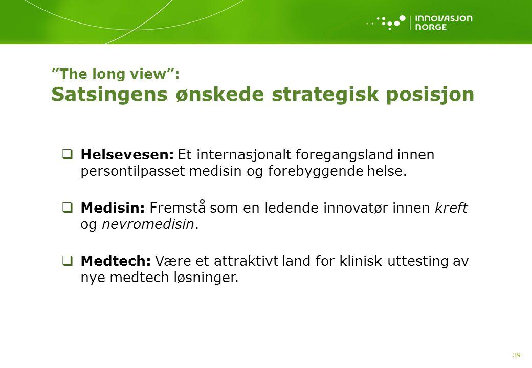 The long view : Satsingens ønskede strategisk posisjon 39  Helsevesen: Et internasjonalt foregangsland innen persontilpasset medisin og forebyggende helse.