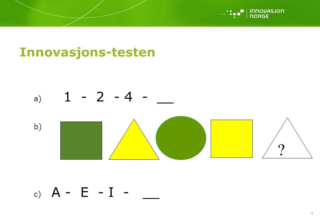 Innovasjons-testen 4 a) 1 - 2 - 4 - __ b) c) A - E - I - __ ?