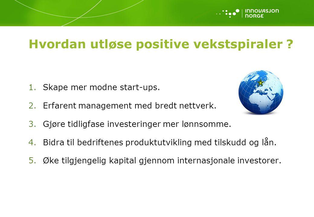Hvordan utløse positive vekstspiraler .1.Skape mer modne start-ups.