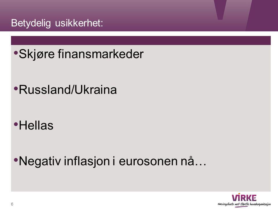 Betydelig usikkerhet: Skjøre finansmarkeder Russland/Ukraina Hellas Negativ inflasjon i eurosonen nå… 6