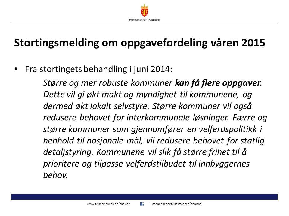 www.fylkesmannen.no/opplandFacebookcom/fylkesmannen/oppland Stortingsmelding om oppgavefordeling våren 2015 Fra stortingets behandling i juni 2014: Større og mer robuste kommuner kan få flere oppgaver.