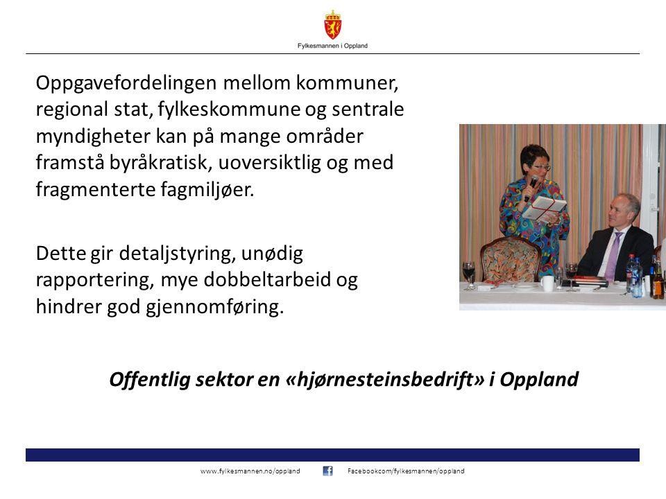 www.fylkesmannen.no/opplandFacebookcom/fylkesmannen/oppland Oppgavefordelingen mellom kommuner, regional stat, fylkeskommune og sentrale myndigheter kan på mange områder framstå byråkratisk, uoversiktlig og med fragmenterte fagmiljøer.
