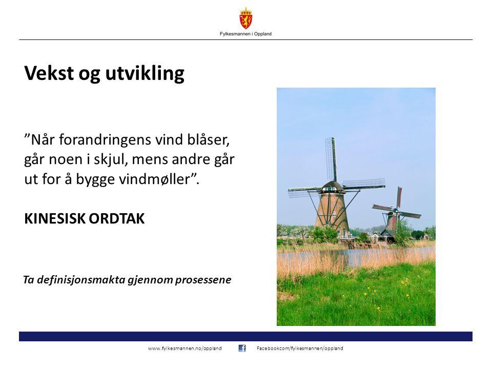 www.fylkesmannen.no/opplandFacebookcom/fylkesmannen/oppland Vekst og utvikling Når forandringens vind blåser, går noen i skjul, mens andre går ut for å bygge vindmøller .