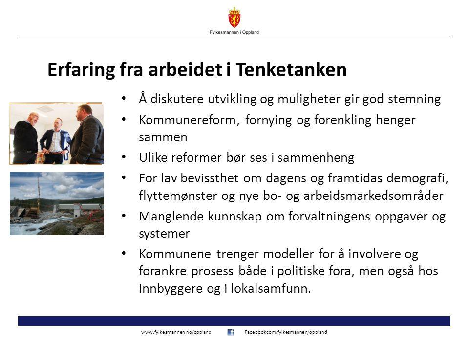 www.fylkesmannen.no/opplandFacebookcom/fylkesmannen/oppland 4 Fleirtalet i komiteen, medlemmene frå Høgre, Framstegspartiet, Kristeleg Folkeparti og Venstre, viser til at det er brei semje om behov for å sjå på kommunesektoren 50 år etter førre store reform.