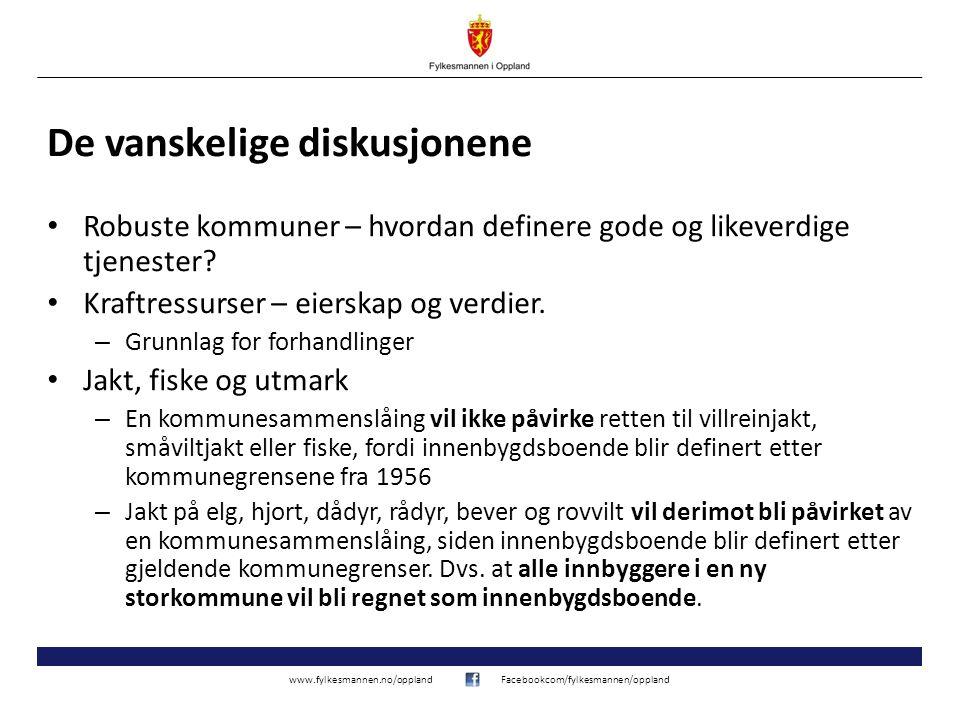 www.fylkesmannen.no/opplandFacebookcom/fylkesmannen/oppland De vanskelige diskusjonene Robuste kommuner – hvordan definere gode og likeverdige tjenester.