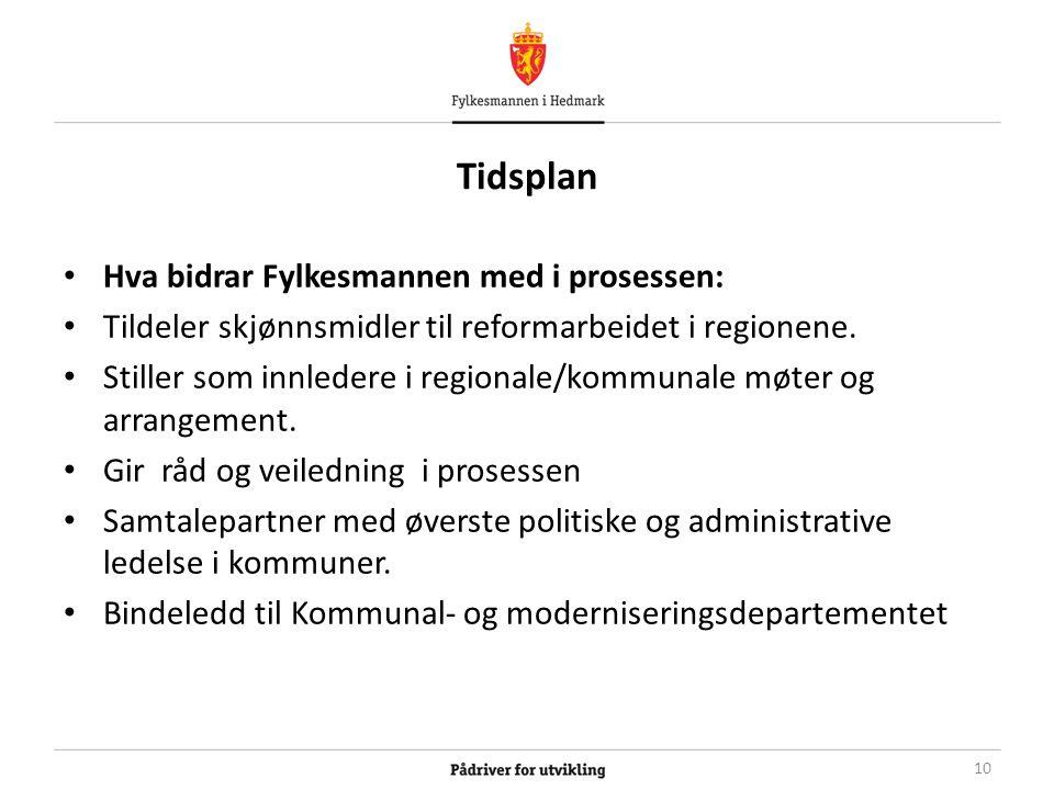 Tidsplan Hva bidrar Fylkesmannen med i prosessen: Tildeler skjønnsmidler til reformarbeidet i regionene.