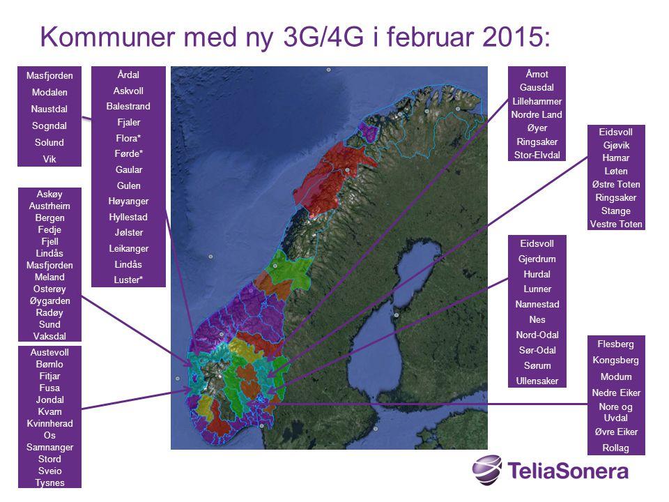 Kommuner med ny 3G/4G i februar 2015: Askøy Austrheim Bergen Fedje Fjell Lindås Masfjorden Meland Osterøy Øygarden Radøy Sund Vaksdal Austevoll Bømlo