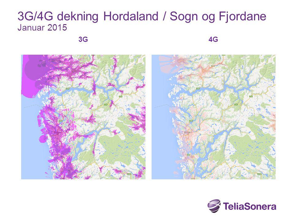 3G 4G 3G/4G dekning Hordaland / Sogn og Fjordane Januar 2015