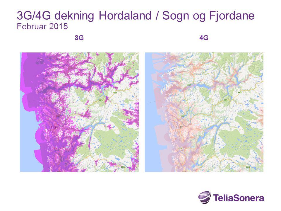 3G 4G 3G/4G dekning Hordaland / Sogn og Fjordane Februar 2015