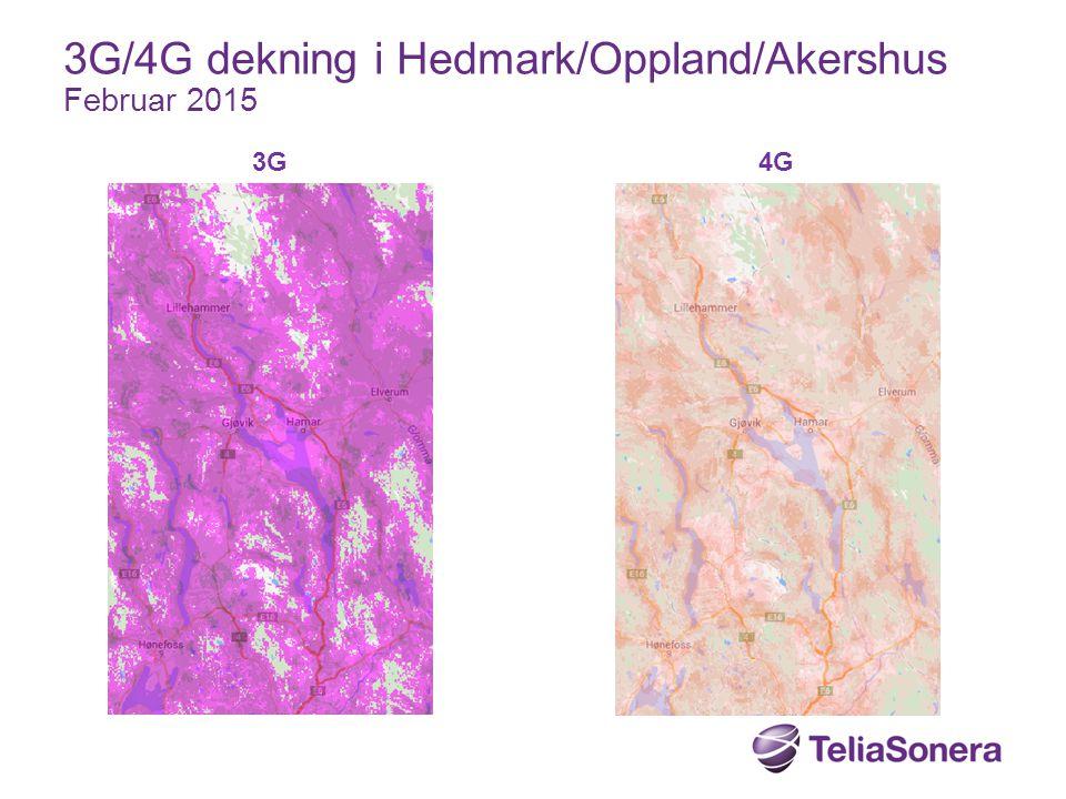 3G4G 3G/4G dekning i Hedmark/Oppland/Akershus Februar 2015