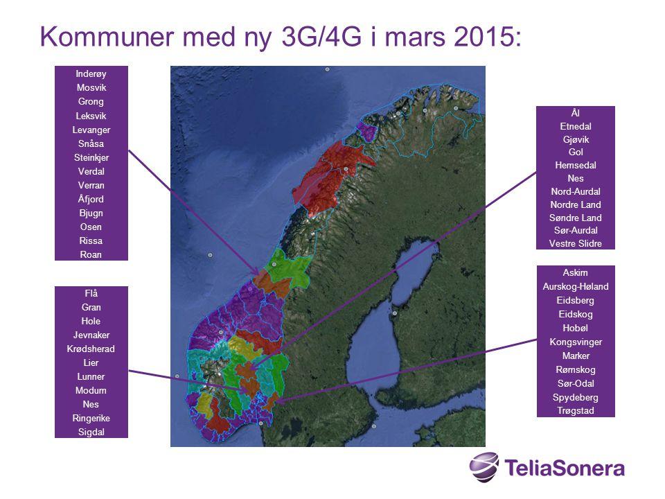 Kommuner med ny 3G/4G i mars 2015: Inderøy Mosvik Grong Leksvik Levanger Snåsa Steinkjer Verdal Verran Åfjord Bjugn Osen Rissa Roan Flå Gran Hole Jevn