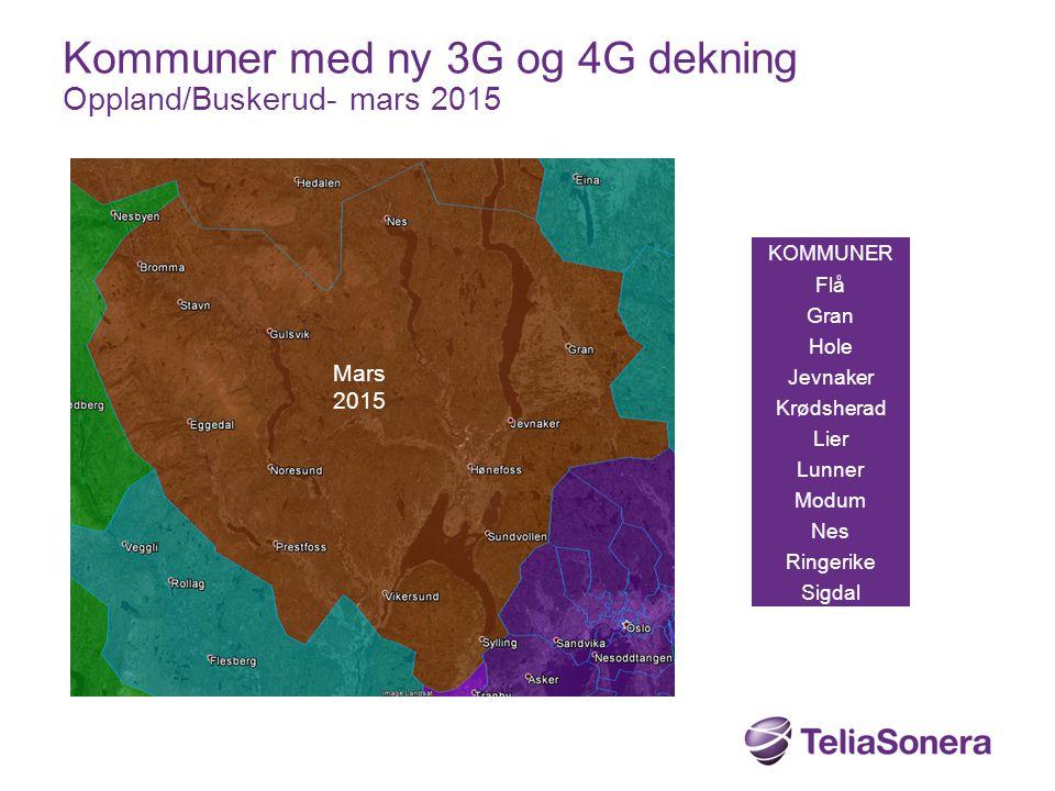 KOMMUNER Flå Gran Hole Jevnaker Krødsherad Lier Lunner Modum Nes Ringerike Sigdal Kommuner med ny 3G og 4G dekning Oppland/Buskerud- mars 2015 Mars 20