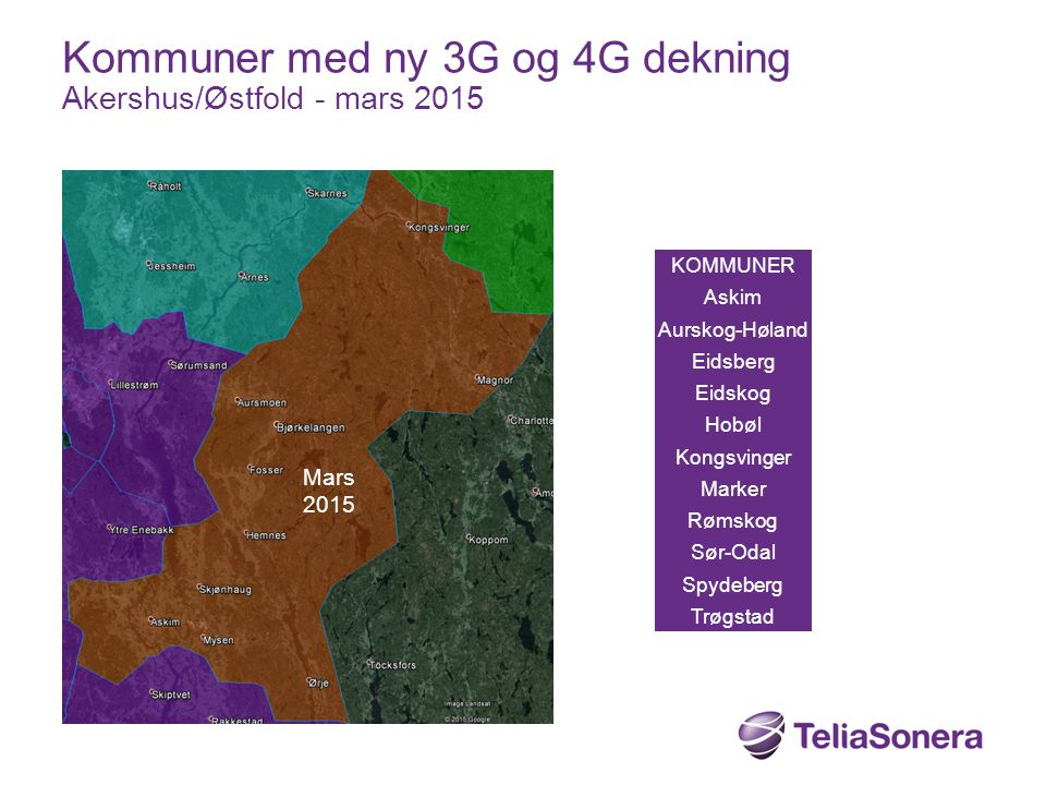 KOMMUNER Askim Aurskog-Høland Eidsberg Eidskog Hobøl Kongsvinger Marker Rømskog Sør-Odal Spydeberg Trøgstad Kommuner med ny 3G og 4G dekning Akershus/