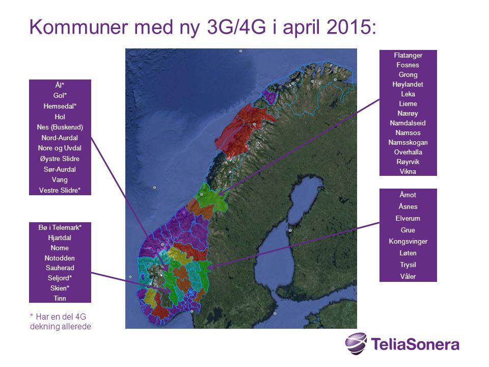 Kommuner med ny 3G/4G i april 2015: Flatanger Fosnes Grong Høylandet Leka Lierne Nærøy Namdalseid Namsos Namsskogan Overhalla Røyrvik Vikna Åmot Åsnes