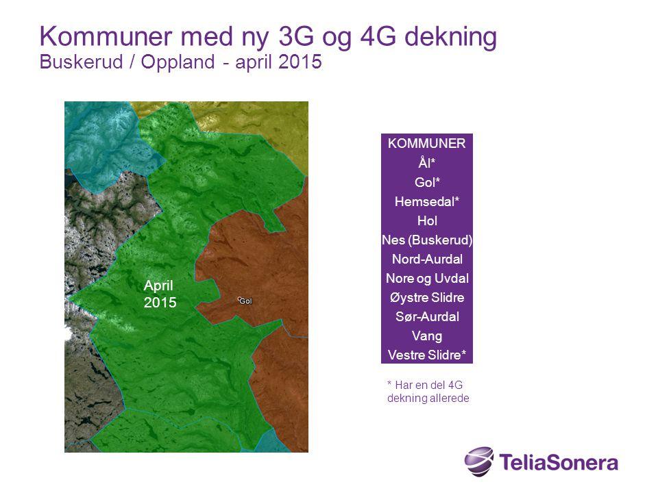 KOMMUNER Ål* Gol* Hemsedal* Hol Nes (Buskerud) Nord-Aurdal Nore og Uvdal Øystre Slidre Sør-Aurdal Vang Vestre Slidre* Kommuner med ny 3G og 4G dekning